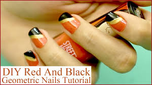diy orange and black nails design that you can do today youtube