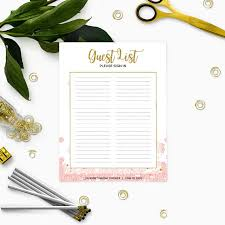 bridal shower sign in book printable guest list sign in pink and gold bridal shower sign