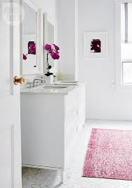 Contemporary Bath Rugs Contemporary White Bathroom With Pink Overdyed Rug On Marble
