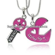 best friend heart necklace images Hot pink best friend two pendants necklace fashion jewelry 2 jpg
