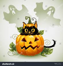 halloween horizontal background black cat halloween pumpkin ghost background stock vector