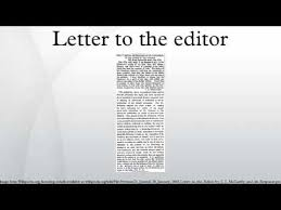 letter to the editor youtube