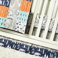 Deer Crib Bedding Bear Nursery Crib Bedding Orange Mint Navy Blue Gray Baby