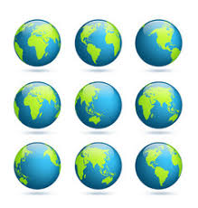 earth globe map earth globe world map set planet with continents vector image