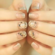 short wedding bride nail tips shining rhinestones pearls 3d women