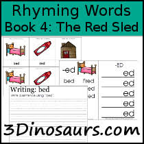 3 dinosaurs early reading printables bob books rhyming words