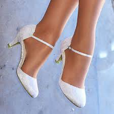 wedding shoes ankle white ivory lace embellished low heel ankle wedding