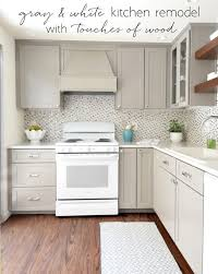 kitchen ideas white appliances gray white kitchen remodel with touches of wood centsationalgrl