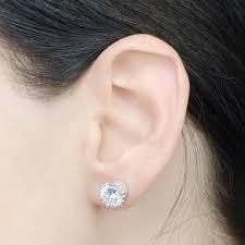 6mm stud earrings 6mm silvertone crown setting cz stud earrings