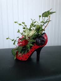 red glass diva high heel shoe flower by brightersideflorals