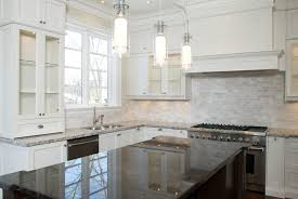 Glass Tile For Kitchen Backsplash Ideas Kitchen Grey Cabinets Cream Backsplash Light Granite Countertops