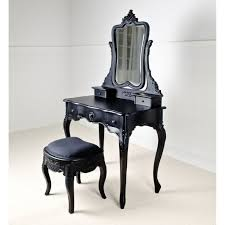 Built In Vanity Dressing Table Antique Black Stained Wodoen Dressing Table With Single Mirror
