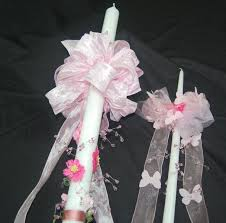 baptismal candles pink flowers butterflies baptismal candles baptismal candles