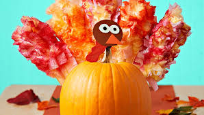 decorate a pumpkin turkey