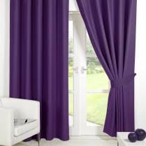 Blackout Purple Curtains Supersoft Blackout Thremal Ring Top Eyelet Curtains