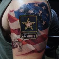 mens american flag us army logo half sleeve tattoo bad