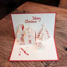 aliexpress com buy red christmas castle 3d laser cut pop up
