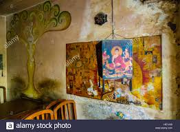 interior design and wall paintings of the famous cafe and bakery