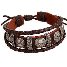 leather bracelet with skull charm images Er male brand cool genuine leather braided friendship skull jpg