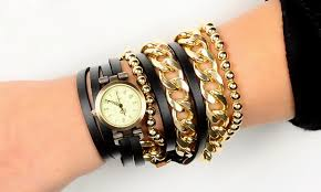 gold chain bracelet with leather images Artilady new wrap wrist watch retro leather watch with gold chain jpg
