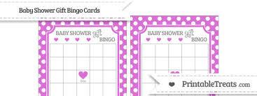baby shower gift bingo orchid polka dot baby shower gift bingo cards printable treats