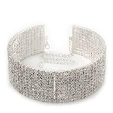 swarovski choker necklace images 10 row swarovski crystal choker necklace silver clear jpg