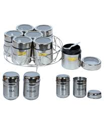 maru silver stainless steel container set of 9 buy online at best