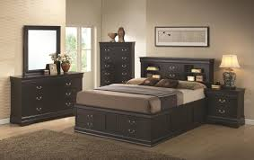 louis philippe black queen bed with storage in headboard and