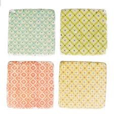 set of 4 modern morocco tile coasters