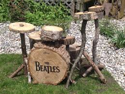 i constructed this drum kit out of old logs and tree stumps ringo