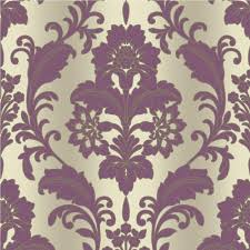 Purple Damask Wallpaper by Grandeco Royal House Regal Damask Vinyl Walllpaper Plum Boa 001 05 9