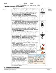 cell membrane transport reading and worksheet by sciencemusicvideos
