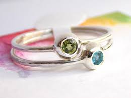 birthstone stackable rings for two birthstone stacking rings minimalist sterling silver pebble