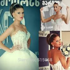 wedding dress black friday sale crystal beaded sweetheart see through corset white gowns ball
