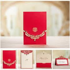 royal red wedding invitation card and menu customized printing