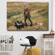 hdartisan wall art home decor hunter hunting with dogs oil