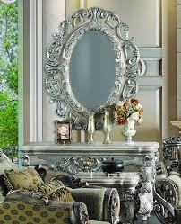 Wall Console Table 2 Pc Silver Ornate Wall Console Table W Oval Wall Hanging Mirror