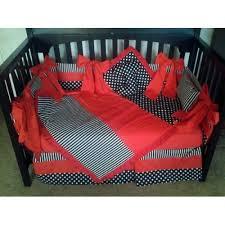 black white polka dot stripe w red crib bedding set