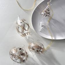 atelier glam gold etched glass ornaments set of four frontgate