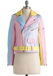 pink motorcycle jacket a spin around the colorblock jacket multi yellow blue purple