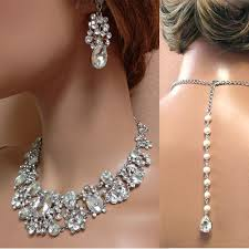 vintage wedding jewelry necklace images Wedding jewelry set bridal back drop bib necklace and earrings jpg