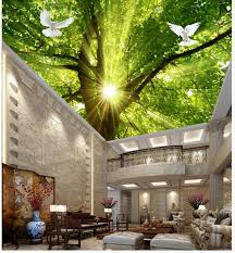 home wallpaper home decoration 3d wallpaper nature sunshine tree pigeon ceiling