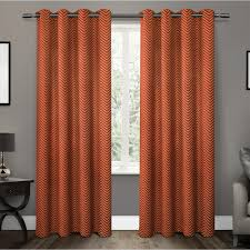 Orange Thermal Curtains Chevron Mecca Orange Thermal Blackout Grommet Top Window Curtain