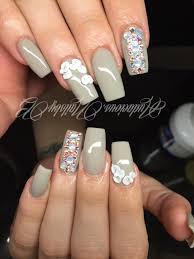 grey 3d nail art swarovski crystal acrylic nails follow on