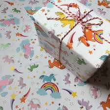 unicorn gift wrapping paper or gift wrap and card set by