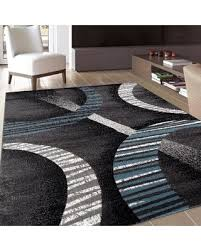 Designer Modern Rugs Area Rugs Area Rugs Contemporary Modern Black Blue White Stripe