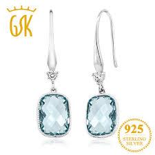 aquamarine drop earrings gemstoneking cushion checkerboard simulated blue aquamarine