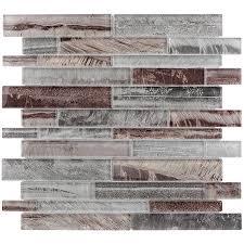 lowes kitchen backsplash tile shop allen roth shimmering lights linear mosaic glass wall tile