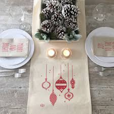 Holiday Table Runners by Christmas Table Runner Retro Ornaments Table Runner Holiday