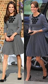 duchess kate duchess kate recycles emilia wickstead dress orla kiely grey pleated dress from kate middleton s recycled looks